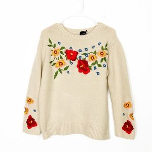 Cliche' Floral Embroidered Sweater Large !